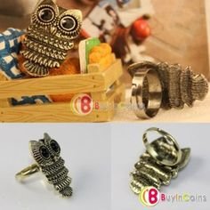 New Fashion Lady Exquisite Ancient Adjustable Metal Owl Retro Style Ring Gift