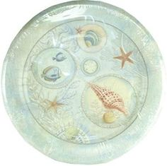 "Amazon.com: Custom & Unique {10 1/2"" Inch} 8 Count Multi-Pack Set of Medium Size Round Disposable Paper Plates w/ Underwater Seashell Collection & Fish ""Blue, Green, Red & Yellow Colored"": Kitchen & Dining"