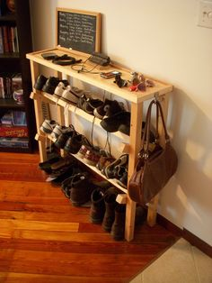 Shoe rack and table. $100.00, via Etsy.