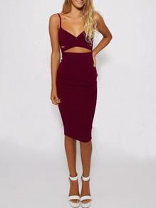 burgundy cut dress, spaghetti strap dress, trendy sexy red dress - Crystalline