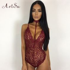 039fc96b3e ArtSu Black Lace Halter Bodysuit Women 2017 See Through Summer Playsuit  Mesh Sexy Bodycon Rompers Jumpsuits