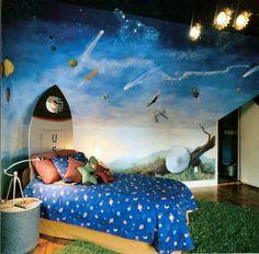 Rocket headboard & hand painted mural