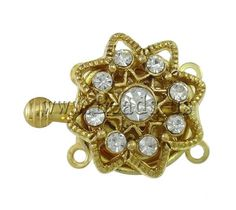 Brass Box Clasp, Flower, gold color plated, with rhinestone & 2-strand, nickel, lead & cadmium free, 20x16x7mm,china wholesale jewelry beads***0,27