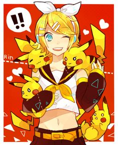 Rin and Pikachu(s) hanging out!