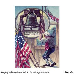 Ringing Independence Bell American Flag 5x7 Paper Invitation Card