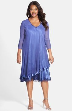 Plus Size Women's Komarov Embellished V-Neck Tiered Chiffon