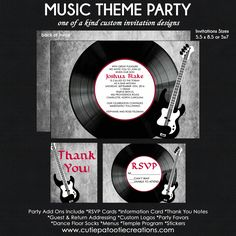 ROCK n ROLL Music Theme Bar Mitzvah Invitation - Vinyl Record and Guitar - Reply Card - Reception Card - Thank You Note - Use for ANY Event by OneWhimsyChick on Etsy