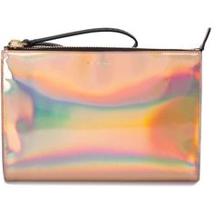 Marni iridescent clutch ($950) ❤ liked on Polyvore featuring bags, handbags, clutches, red purse, metallic clutches, iridescent handbag, marni purse and pink metallic purse