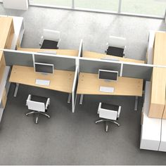 Plan with Seven workbenches, desks and tables for efficient use of space in all office environments.