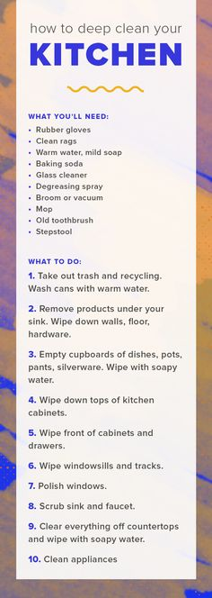 Learn how to spring clean your kitchen with this kitchen cleaning checklist. This is the best way to clean your kitchen cabinets, sink, appliances and more. Household Cleaners, Diy Cleaners, Household Tips, Cleaning Checklist, Cleaning Hacks, Cleaning Schedules, Green Cleaning, Spring Cleaning, Housekeeping Tips