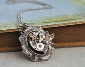 TIME TRAVELER, antique silver steampunk watch movement necklace with tiny dragonfly