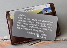 Personalized Wallet Card, Custom Engraved Wallet Insert, Personalized Wallet Card, Mini Love Note, Metal Wallet Card - Anniversary, Valentine's Day, Father's Day, Groom's Gift For Him