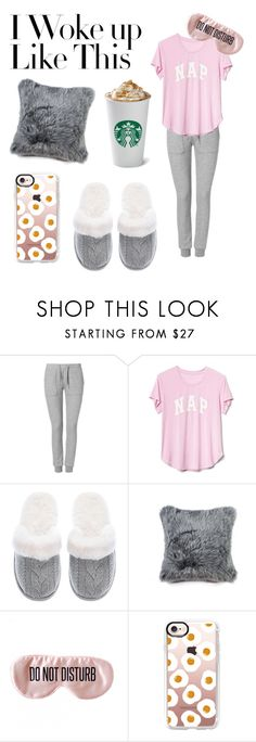 """""""I Woke Up Like This"""" by adulak on Polyvore featuring Zoe Karssen, Gap, Victoria's Secret, Natural by Lifestyle Group, BaubleBar, Casetify, starbucks, sleep and sweatpants"""