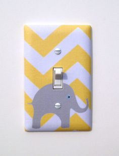 Gray and Yellow Chevron Elephant Light Switch Plate / Baby Nursery Decor Gender Neutral / Japanese Fabric / Slightly Smitten Kitten