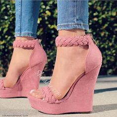 High Heels Boots, Shoes Heels Wedges, Wedge Heels, Shoe Boots, Pink Wedges, Shoes Sandals, Cute Heels, Hot Shoes, Pink Shoes