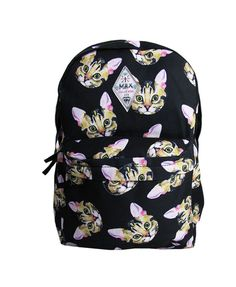 Cute Style Cat Print Black Backpack