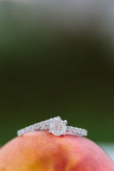 Very appropriate for our Savannah, GA Destination Wedding {Pretty rings atop a Georgia peach!}