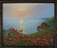 "Landscape Oil painting, oil on canvas, Handmade art, ""Poppies and the sea"". Oil On Canvas, Canvas Art, Painting Canvas, Handmade Art, Poppies, Contemporary Art, Sea, Landscape, Drawings"