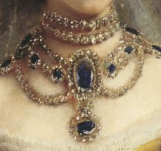 Portrait of Maria Feodorovna (Dagmar of Denmark) by Konstantin Makovsky (details).