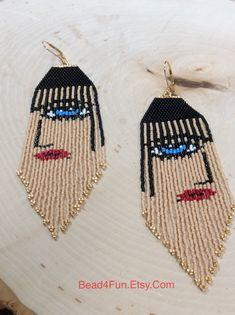 Seed Beaded Earrings Name: Retro Girl Art Deco Abstract Beaded Earrings Patterns, Seed Bead Earrings, Beading Patterns, Seed Beads, Beaded Jewelry, Statement Earrings, Hoop Earrings, Fringe Earrings, Bracelet Patterns