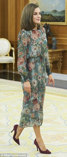 Queen Letizia added a pair of berry suede shoes for Tuesday's engagement