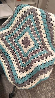 Baby boy blanket for a great co worker. Made with Bernat blanket yarn.