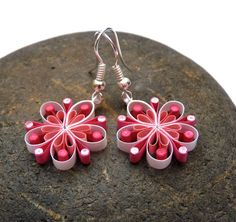 Earrings  Ecofriendly quilled paper Plum Blossom ♥ by VBPureDesigns