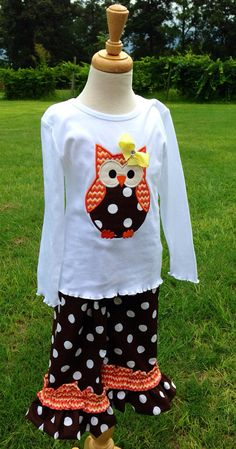 Fall Owl Appliqued Top and Matching Ruffled Pants Custom Sizes 12 mos to 5T on Etsy, $38.95