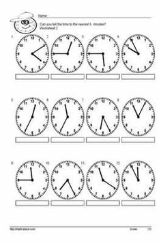 10 Worksheets for Telling Time to the Nearest 5 Minutes: Worksheet # 6 First Grade Math Worksheets, Second Grade Math, School Worksheets, Teaching Vocabulary, Teaching Time, Teaching Spanish, Homeschool Math, Homeschooling, Math For Kids
