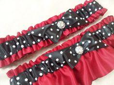 Red Black White Polka Dot Rhinestone Accent Bridal by Allofyou, $32.00