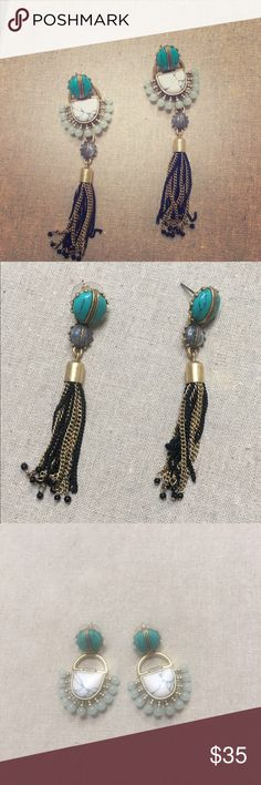 """4-in-1 Totem Tassel Chandeliers 4-in-1 earrings! Semi precious howlite stones combine with neutral tones for an elongated, versatile, and effortless look. Detachable tassel chandelier allows you to go from statement earring to tassel earring to a beautiful stud.  Vintage Gold Plating 4 1/4"""", Statement Weight Titanium Posts Stella & Dot Jewelry Earrings"""