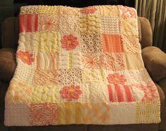 Custom Baby Quilt Peaches Plus Vintage Chenille