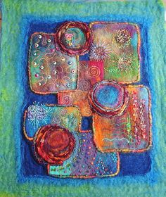 Adventures Textiles - Recycling atc panel felt and organza.Embellisher, hand embroidery, beads.