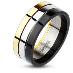 Men's Stainless Steel Black-Gold-Silver Tri-Color Band Ring Size in Rings Bridal Bands, Wedding Ring Bands, Stainless Steel Jewelry, 316l Stainless Steel, Steelers Rings, Smart Ring, Men's Jewelry Rings, Male Jewelry, Jewlery