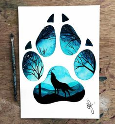11 Ideas Wolf Drawing Tattoo Sketches For 2020 Art Drawings Sketches, Animal Drawings, Cool Drawings, Tattoo Sketches, Blue Drawings, Wolf Painting, Painting & Drawing, Paw Print Drawing, Paw Print Art