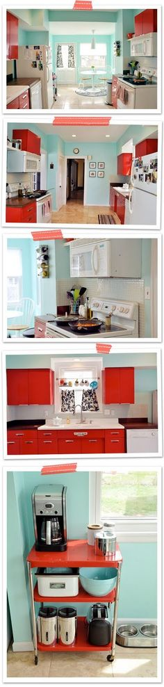 retro kitchen -- love the colors but the red cabinets are a bit much for me.  White cabinets, blue walls, and red accents for me!