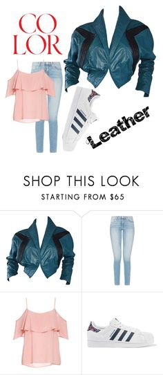 """""""Colored Leather, Touch of Teal"""" by jillian-lenae ❤ liked on Polyvore featuring Kelli Kouri, BB Dakota and adidas Originals"""