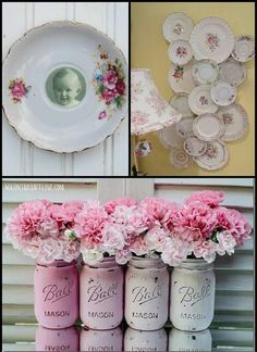 Pretty in pink Granny Chic, Sweet 15, Plates On Wall, Plate Wall, Pink Roses, Pretty In Pink, Paper Flowers, Mason Jars, Shabby Chic