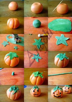 en pâte à sucre - sugarpaste pumpkins - MA PETITE PATISSERIE (Contact : isilda Pumpkin Polymer Clay Tutorial. Very simple & mine turned out almost like these! Very simple & mine turned out almost like these! Polymer Clay Halloween, Fimo Clay, Polymer Clay Charms, Polymer Clay Projects, Polymer Clay Creations, Polymer Clay Art, Clay Crafts, Theme Halloween, Halloween France