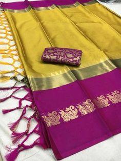 Saree for women cotton silk sarees wedding wear banarasi party wear saree festive wear saree designer sari latest pattu sari with blouse Cotton Silk Fabric, Silk Cotton Sarees, Pure Silk Sarees, Saree Wedding, Wedding Wear, Silk Saree Kanchipuram, Nalli Silk Sarees, Kanjivaram Sarees, Simple Sarees