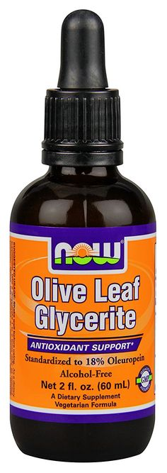 NOW Foods Olive Leaf Glycerite  18% Oleuropein , 2 ounce *** Unbelievable  item right here! : Herbal Supplements