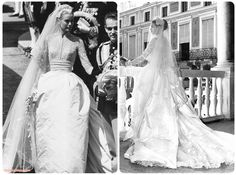 In 1956, Grace Kelly was tying the knot with Prince Rainier of Monaco, and her long, lace and silk wedding dress is still a significant influence in today's wedding attire. Description from biensavvy.eu. I searched for this on bing.com/images