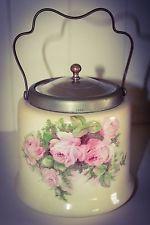 Vintage Biscuit Barrel BRISTOLIA Cookie Jar Shabby Chic Roses English antique?