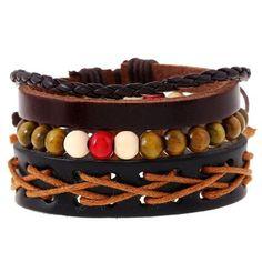 1 set leather Bracelets men for women charm Cuff jewelry wood bead chain punk Multi-layer Vintage Weave Wrap accessories Stackable Bracelets, Bracelets For Men, Bangle Bracelets, Leather Bracelets, Bangles, Leather Jewelry, Punk Art, Punk Braids, Cuff Jewelry