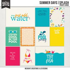 This playful and fun kit is perfect for all your memories in the water this summer! Poolside, beachside, backyard, anywhere where you have a great time you can make those layouts pop with these great, vibrant and fun colors!