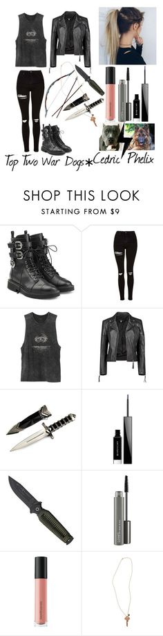 """""""Chief Of Camp Darkwood"""" by betheirvoice ❤ liked on Polyvore featuring Giuseppe Zanotti, Topshop, RVCA, Boohoo, Givenchy, MAC Cosmetics, Bare Escentuals and The Giving Keys"""