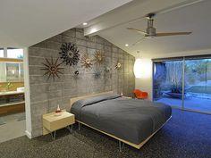 Master Bedroom with lots of starburst clocks!