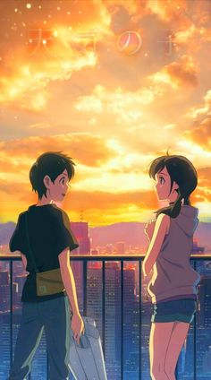 Anime Backgrounds Wallpapers, Anime Wallpaper Live, Anime Scenery Wallpaper, Animes Wallpapers, Sky Anime, Anime Kiss, Anime Galaxy, Your Name Anime, Animated Love Images
