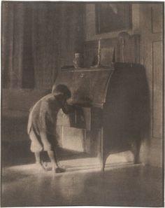 Hans with Bureau, 1905 by Heinrich Kuhn. Pictorialism. photo