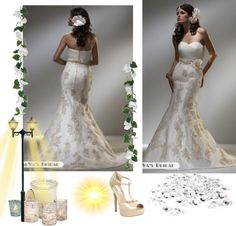 """""""2012 Mermaid Sweetheart Neckline Sleeveless Brush Train Champagne Taffeta & Tulle Wedding Dress with Applique"""" by buyweddinggowns on Polyvore"""
